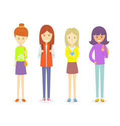 set of teen girl character standing in casual vector image