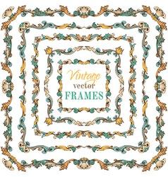 set of vintage border frames vector image vector image
