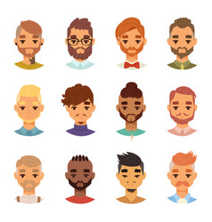 various expressions bearded man face avatar vector image vector image