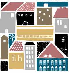 seamless pattern with old town buildings vector image vector image