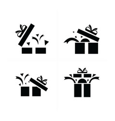 set black gift icons open gift box vector image
