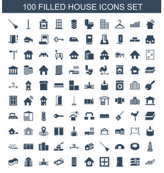 100 house icons vector