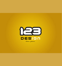 123 number numeral digit white on yellow vector