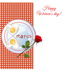 8 march happy womens day greeting card with fried vector image