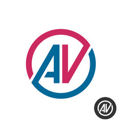 a and v capital letters logo round av initials vector image