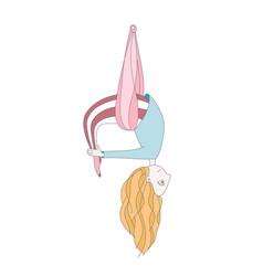 A cute girl doing aerial yoga vector