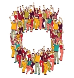 Active happy casual young people color vector image