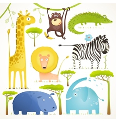 African Animals Fun Cartoon Clip Art Collection vector image