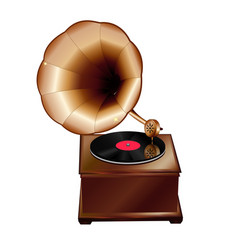 ancient gramophone on a white background vector image