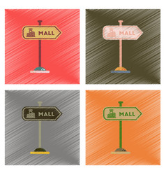 Assembly flat shading style icons mall sign vector