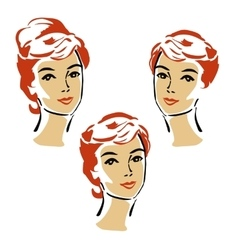 Beautiful elegant woman in retro style vector image