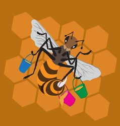 bee honeycomb bucket vector image