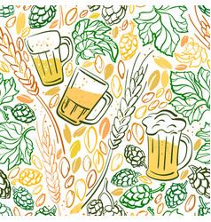 beer hop mug color seamless pattern vector image