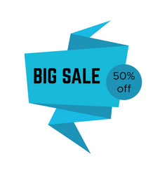 blue big sale sticker with text in origami style vector image