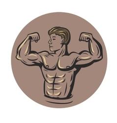 bodybuilder in round vector image