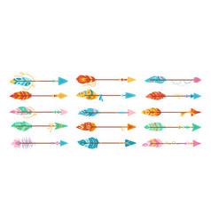 Boho arrow with feather cartoon set ethnic vector