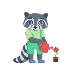 Boy Raccoon Watering The Flower vector