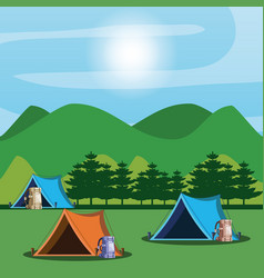Camping zone with tents and landscape vector