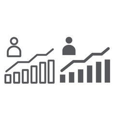 career growth line and glyph icon increase and vector image