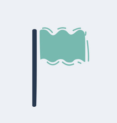 cartoon flag icon location marker symbol hand vector image