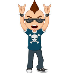Cartoon punk boy with mohawk and sunglasses vector