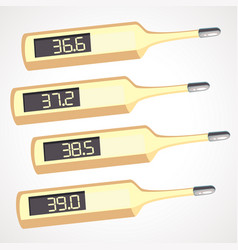 cartoons electronic thermometer with different vector image