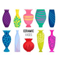 Ceramic vases collection colored ceramics vase vector