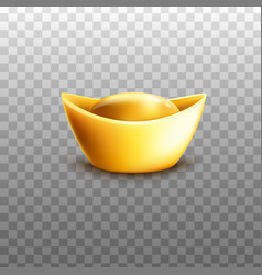 Chinese gold ingot in traditional shape realistic vector