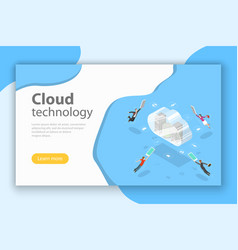 Cloud computing technology isometric flat vector