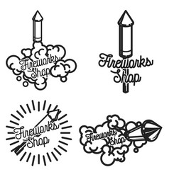 color vintage fireworks shop emblems vector image