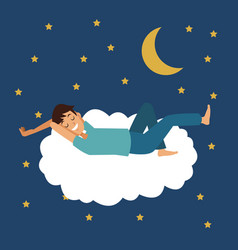 Colorful scene of night with man sleep in cloud vector