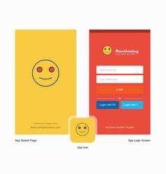 Company smiley emoji splash screen and login page vector