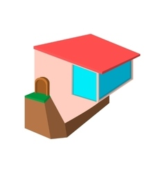 Cottage on edge a cliff cartoon icon vector