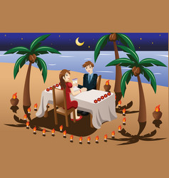 Couple having romantic candle light dinner vector