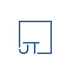 Creative initial letter jt square logo design vector