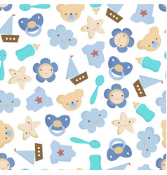 cute baby boy elements seamless pattern vector image