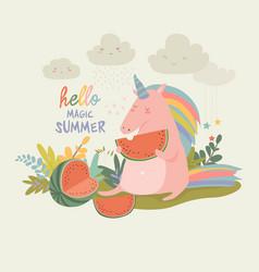 Cute unicorn with watermelon vector