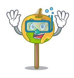 Diving candy apple character cartoon vector