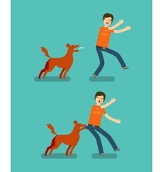Dog bite man Cartoon vector