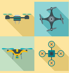Drone camera quadcopter icons set flat style vector