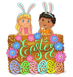 easter bright wooden banner design paper flowers vector image
