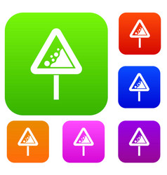 falling rocks warning traffic sign set collection vector image