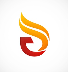 fire abstract initial logo vector image