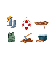 fishing and camping icons set wooden boat pair vector image