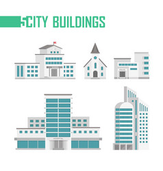 five city buildings set of icons vector image