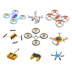 flat set of quadrocopters remote vector image