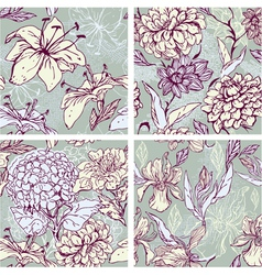 Floral Seamless Patterns with hand drawn flowers vector