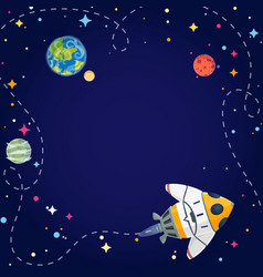 frame with spaceship planets and stars vector image