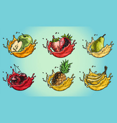 Fruits splash set color vector