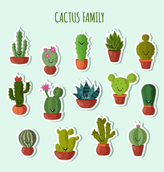 Funny plants collection cute cactus with vector